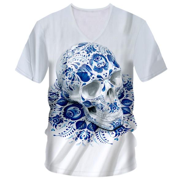 OGKB T Shirts Men's Hot V-neck Short Sleeve Skulls 3D Tee Shirt Printing Blue Skulls Hip Hop Street 7XL Clothing Unisex T-shirt
