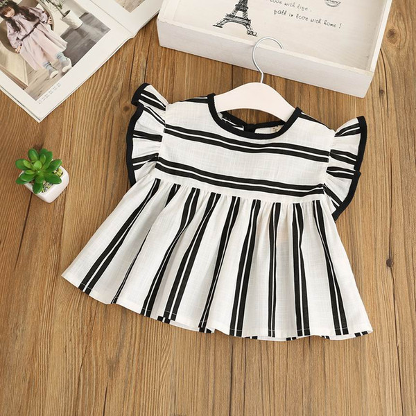 top popular Retail 2018 Summer New Girl Shirts Black White Stripe Flare Sleeve Cotton Linen Loose Blouse Children Clothing 2-8Y C35 2021