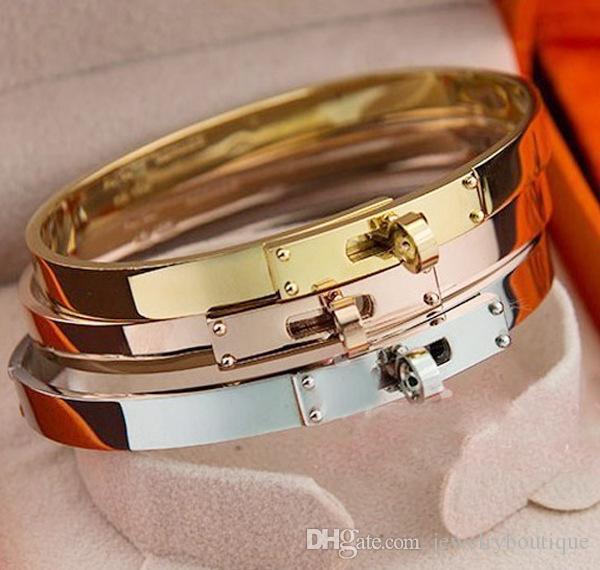 2017 Novo design Bangle and lock Top qualidade em três cores para as mulheres logotipo da marca de jóias frete grátis PS5369