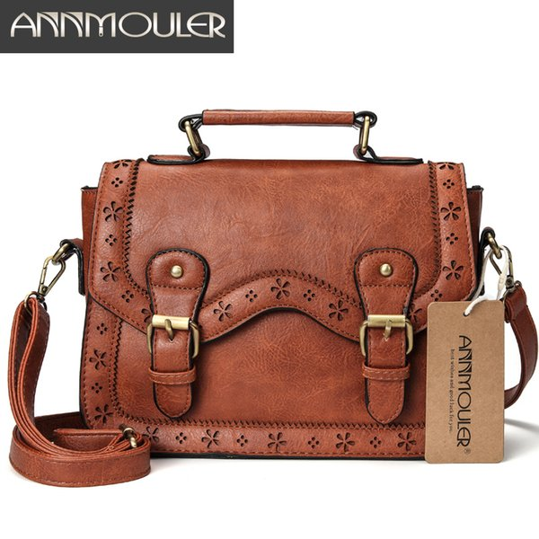 Annmouler Brand Women Satchel Bag Vintage Shoulder Bags Brown Hollow Out Crossbody Messenger Bag Small Briefcase for Ladies D18102303