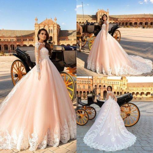 compre blush vestidos de novia de color naranja manga larga vestidos