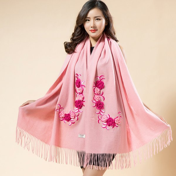 Fashion Lady Shawl Shawls Wraps 100% Real Wool Scarf  Tassels Embroidery Flower Scarves Chal Large Thick Muffler Cape