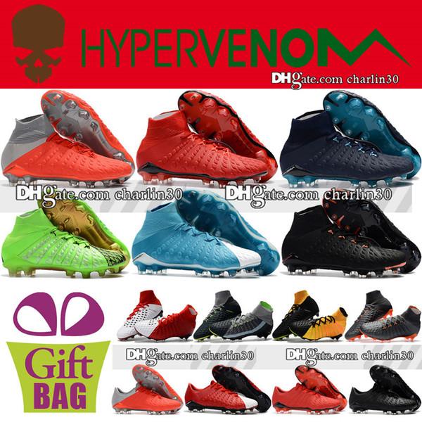 New Cheap Mens Original Hypervenom Phantom III DF FG Soccer Shoes High Top Socks Soccer Cleats Hypervenom ACC EA Sports Football Boots 39-46