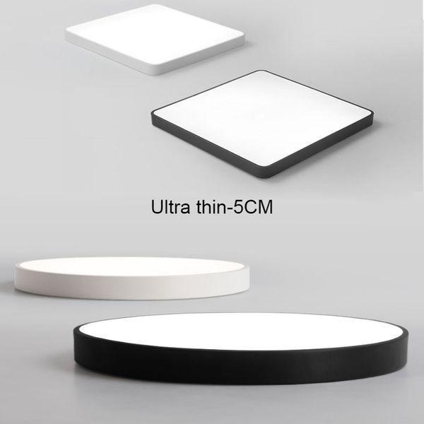 Ultra-mince pratique 5cm LED Plafond Lampes Fer Carré Rond Noir / Blanc Plafonniers pour Salon Éclairage Intérieur