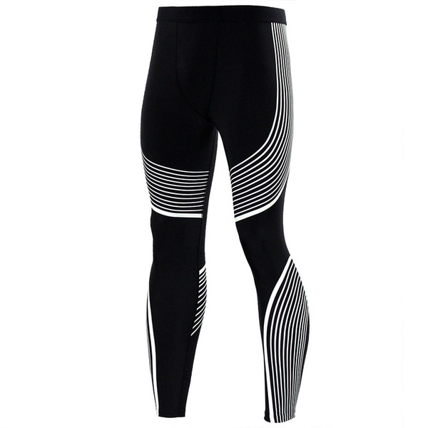 Wholesale-Compression Tights Colorful Line Design Long Pants Fitness Leggings Men Slim Fit Wear Joggers Exercise Bodybuilding Trousers