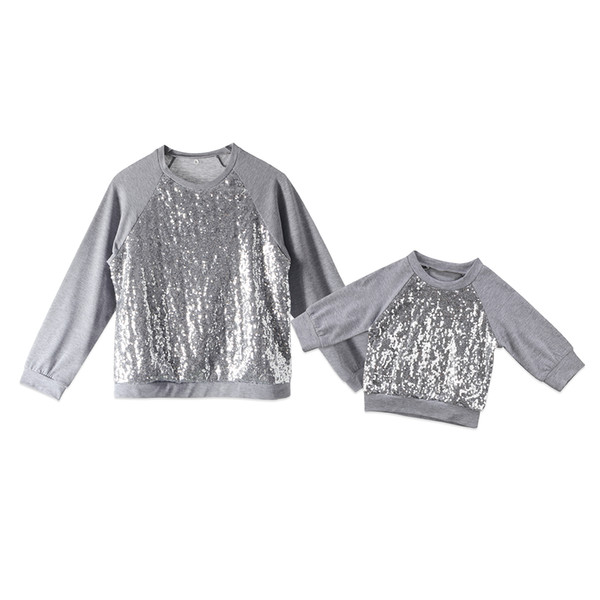 Fashion Family Matching Outfits Women Newborn Baby Girl Clothing Tops Sequin Long Sleeve Warm Top T-shirt Hoodies Clothes