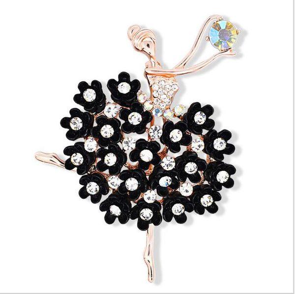 Exquisite Multicolor Crystals Pretty Flower Skirt Ballet Dancer Ballerinas Brooch Women Girls Gift Pins Broach