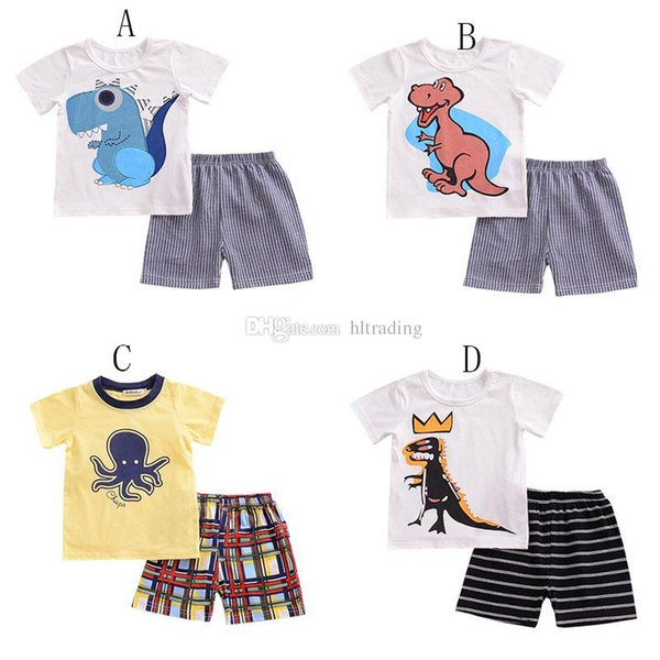 Baby boys dinosaur octopus print outfits children top+stripe lattice Shorts 2pcs/set 2018 Summer kids Clothing Sets C4156