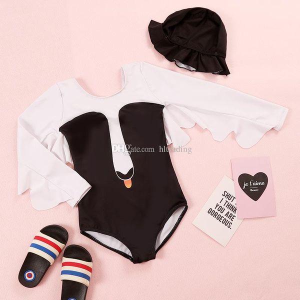 Meninas Swimwear Swan Asa One piece com Tampas 1-6 T Rosa Preto Cisne Asas Dos Desenhos Animados Impressão Swimsuit bebê Swim Roupas C4400