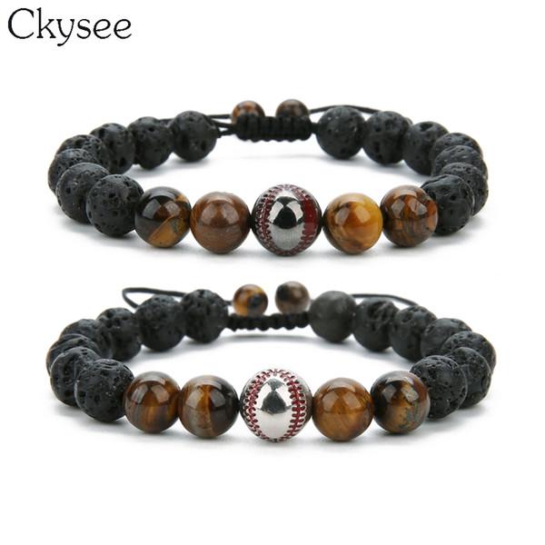 Ckysee 2018 ручной плетеный макраме бисером браслет Спорт Бейсбол Шарм браслет черный лаве камень 8 мм тигровый глаз мужчины
