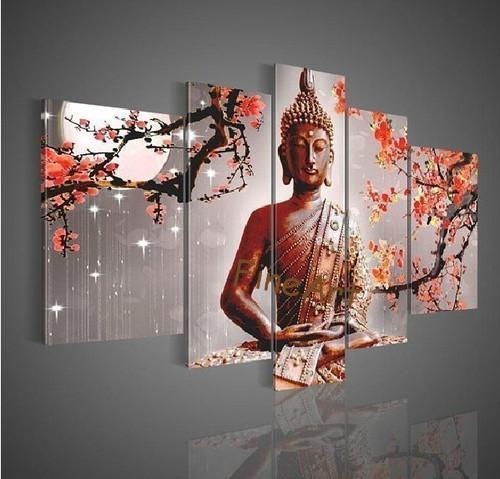 peint à la main groupe peinture à l'huile bouddha wall art mon mur wall art pour les grands murs panneau mur artique cadeaux Kuf Art