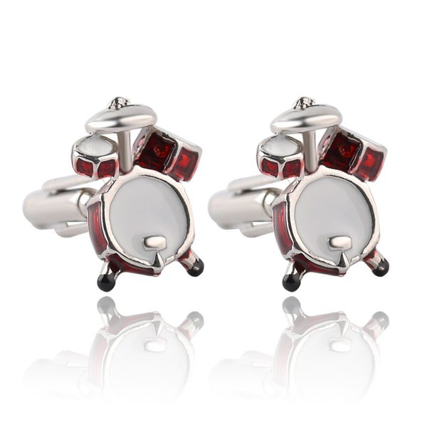 2018 Personality Men Jewelry Music Lover Drum Cufflinks for Men Shirt Accessory Fashion Metal Music Design Cuff Links