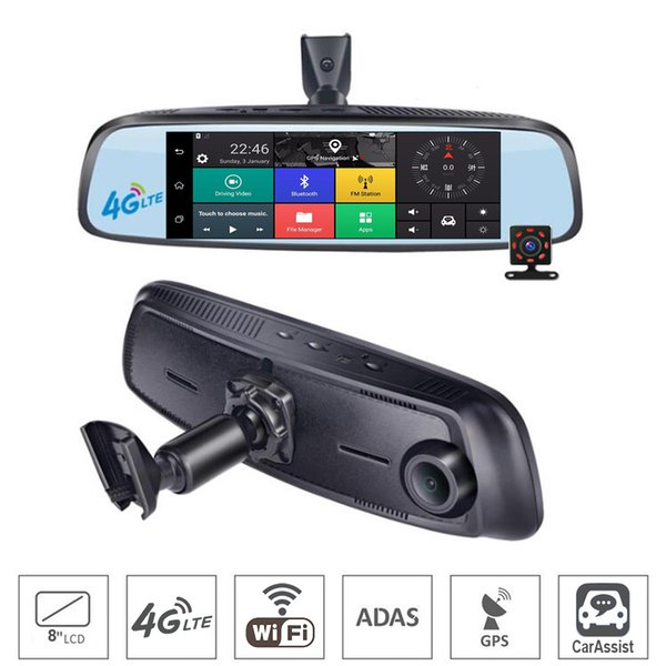 "8"" 4G Touch IPS Special Car DVR rear view mirror Camera Android Mirror Dash Cam Bluetooth WIFI ADAS Radar Car Assist Dual Lens Recorder"