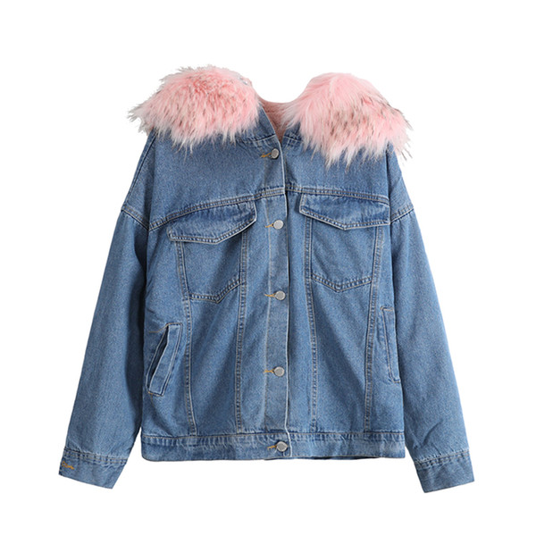 Fleece Warm Fashion Denim Jacket Fat Big Size Women Heavy Hair Collar Coat Show Slimmer Girl Autumn Winter Jacket