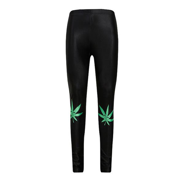 Black Fitness Clothing Crayon Gym Leggings Leaves Printed Yoga Pants Sport Leggings Women Apparel Sports YP021