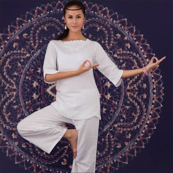 Cotton and Linen Indian Embroidery Yoga Suit 2Pcs Meditation Set Women large size Yoga Tai Chi Clothing White Color