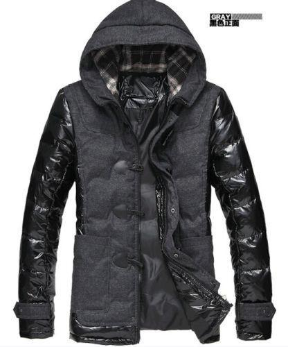 Nueva moda masculina con capucha chaqueta acolchada gruesa de algodón de invierno cálido abrigo rompevientos color negro botón de cuerno