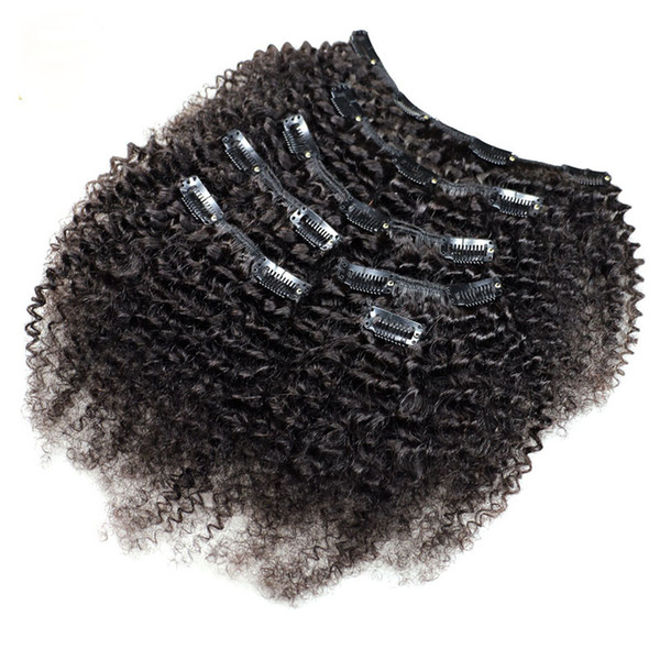 Kinky Curly Clip In Human Hair Extensions 7Pcs Set Nautral Color Clip-in Full Head 7 Pcs Remy Hair 4B 4C 3B 3C