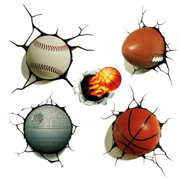 1 Piece Sports Style 3D Car Body Stickers Simulation Basketball Baseball Football Stickers for Exterior Styling Stretches Blocking