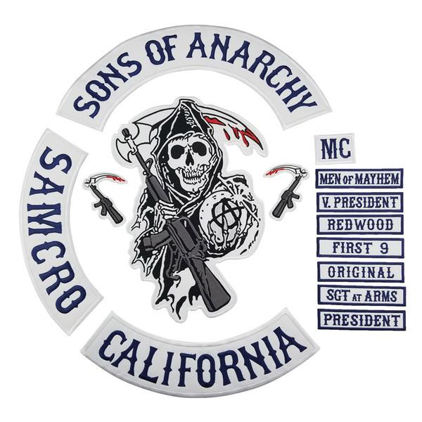 CALIFORNIA ha ricamato i figli di ferro di anarchia sulle toppe per la maglia del rivestimento dell'abbigliamento del motociclista Trasporto libero