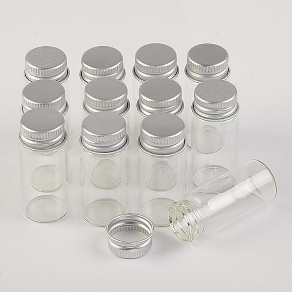 22*50*13mm 10ml Mini Glass Bottles With Metal Cap Empty Small Wishing Bottle Glass Vials Jars 100pcslot