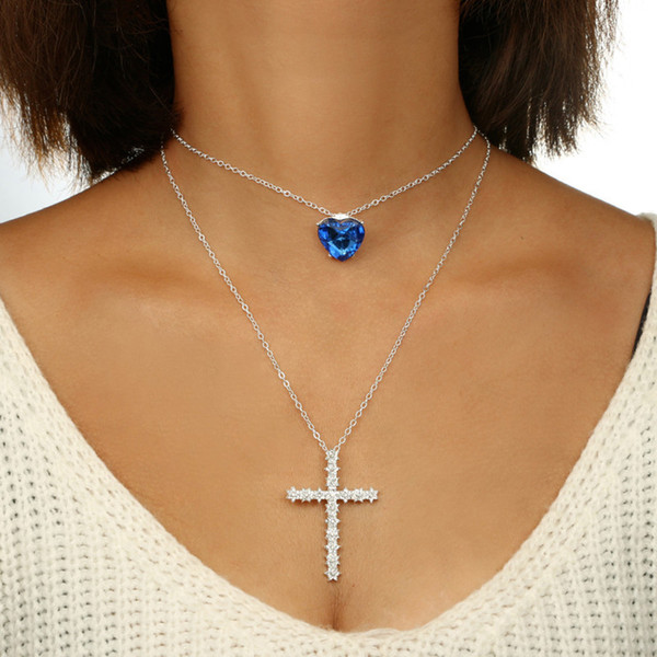 2018 Fashion Women Pendant Necklace E-Plating Crystal Cross Geometric Prom Anniversary Party Gift Shiny Jewelry Necklace