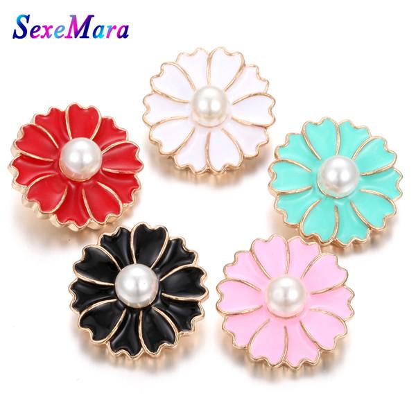 10 unids / lote Nueva Snap Button Jewelry Rhinestone crisantemo Metal Snap Botones Fit Pulsera Botón Joyería