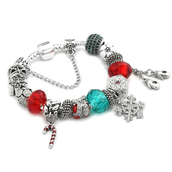 Pandora Style Bracelets Bead Friendship Christmas snowflake candy cane Bracelets with Charms DIY Bracelet Accessories