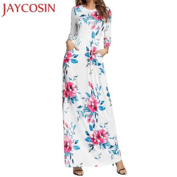 2018 dress Womens Long Sleeve Crew Neck Summer Maxi Dress With Pockets Plus Size Dropshipping July 30
