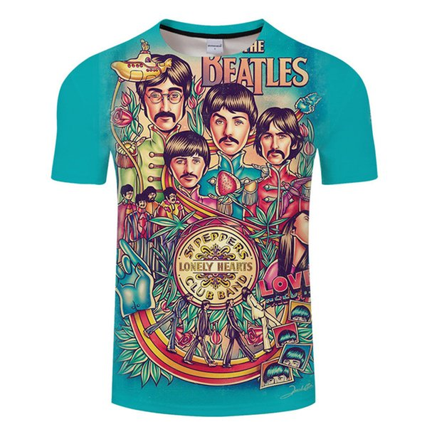 Tshirt Uomo 2018 Estate Manica corta Stampa 3D T-shirt Plus Size Top casual O Collo Tees Beatles di moda