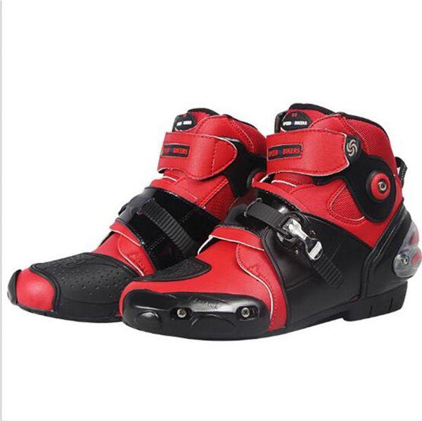 Ventas calientes más nuevos de la motocicleta Boots Pro motorista SPEED Moto Racing Motocross moto zapatos A9003 negro / blanco / rojo tamaño
