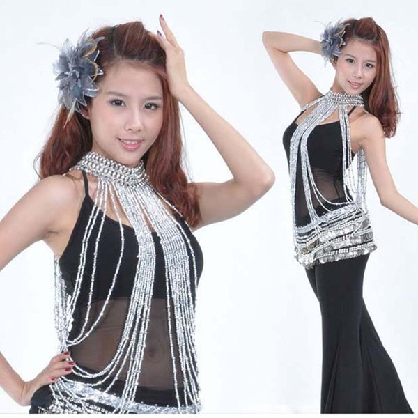 New arrival Dancing Belly Dance Costume Long Bead Necklace Jewery Gold Silver Necklace for Dancer Women 2 Colors