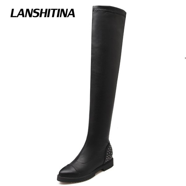 LANSHITINA Women Over Knee Boots Ladies Riding Fashion Long Snow Boot Warm Winter Brand Botas High Heel Cool Footwear Shoes G115