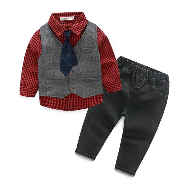 Vendita al dettaglio di vestiti per bambini Primavera Autunno Toddler Boys Outfit Baby Boy vestiti Formale Gentleman Suit Plaid Shirt Vest Tie Pants 4PCS Abbigliamento per bambini
