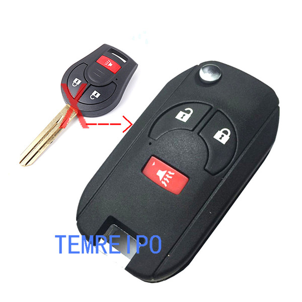2+1 Button Romote Key Shell for NISSAN Maxima Sentra Versa Sylphy Flip Folding Key Case Fob