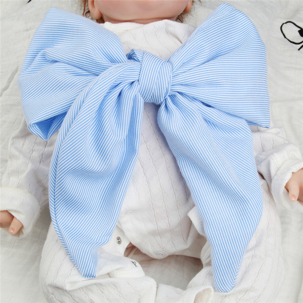Baby Blankets Newborn Photography Girl Swaddle Big Striped Bow Breathing Swaddle Photo Props Soft Hollow Blanket Wraps Cloth 7 Colors