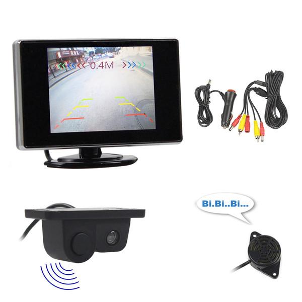 DIYKIT Wired 3.5 inch TFT LCD Rear View Monitor Car Monitor + Video Parking Radar Black Sensor Car Camera Parking Accessories