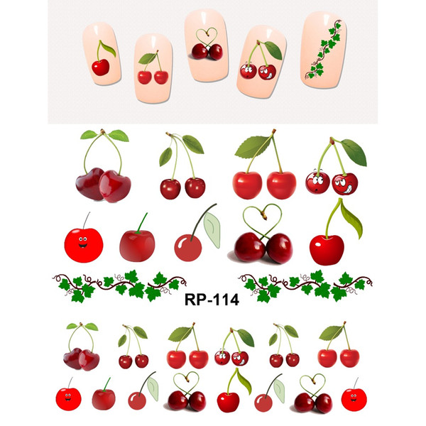 UPREEGO NAIL ART BEAUTY NAIL STICKER WATER DECAL SLIDER FRUIT CHERRY STRAWBERRY GRAPE BANANA APPLE RP109-114