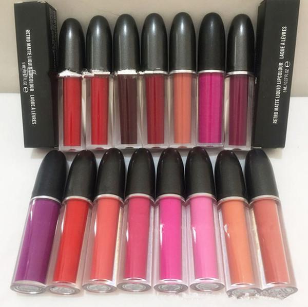 M a c makeup 15 color retro matte liquid lip tick 5ml 0 17oz rouge a levre brand lip glo lipglo dhl hipping