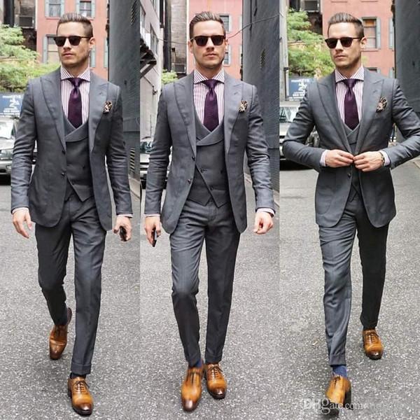 Последние мужские костюмы дизайн серый свадебные костюмы бизнес блейзеры широкий остроконечный лацкан Пром носить Slim Fit жених смокинг 3 шт куртка брюки жилет