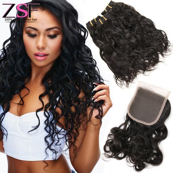 ZSF 8A Unprocessed Human Hair Bundles With Closure Natural Wave Hair Weave Extensions 3 Bundles With 1PCS 4x4 Closure Brazilian Virgin Hair