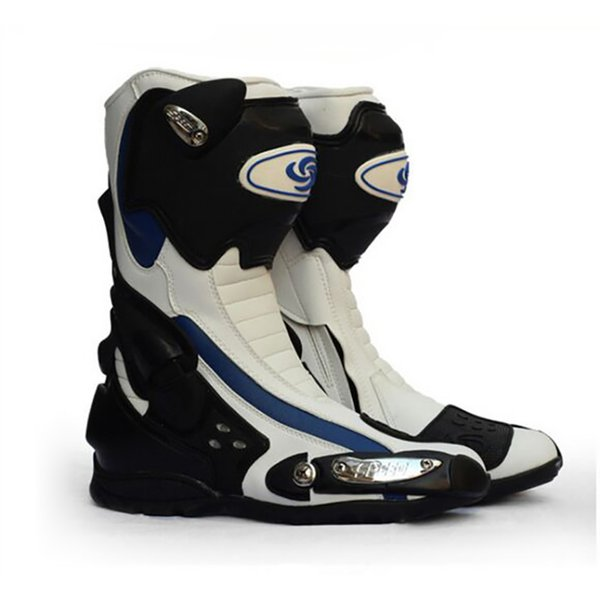 MEN'S Motorcycle Speed Microfiber Leather boots Racing Motorbike Non-slip boots Outdoor Sport Street Road riding Motorboats
