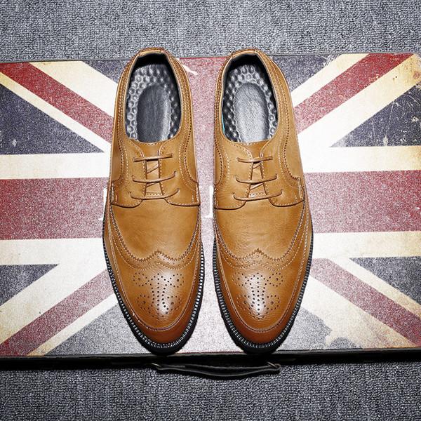 Новая весна осень человек натуральная кожа платье обувь большой размер дышащий мягкий Моды рукав бизнес свадьба Оксфорд формальные обувь