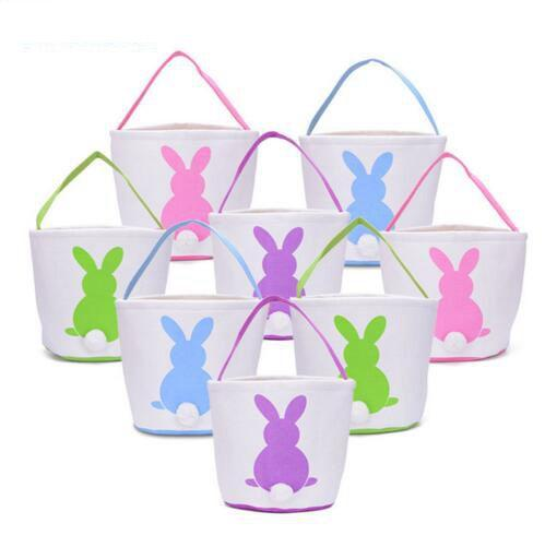 Easter Rabbit Basket Easter Bunny Bags Rabbit Printed Canvas Tote Bag Egg Candies Baskets 4 Colors 50pcs OOA3960