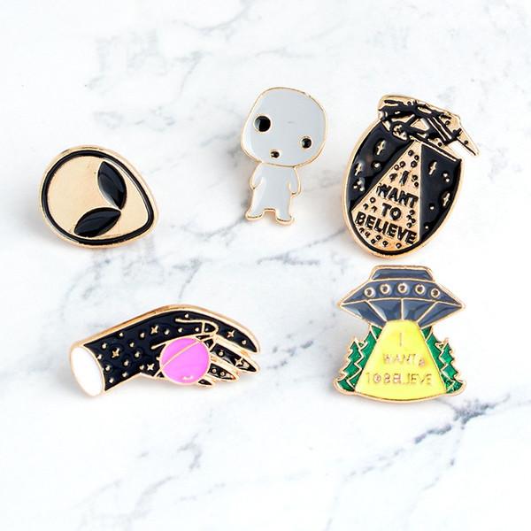 Miss Zoe VOGLIO CREDERE Alien baby UFO Space shuttle Planet Brooch Denim Jacket Buck Buckle Shirt Badge Gift for Friend