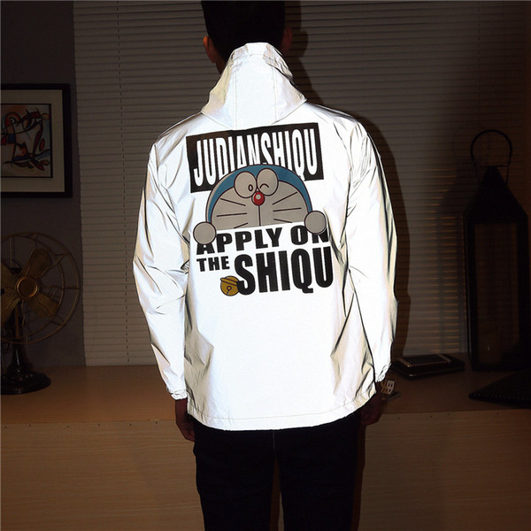 Men Jacket Casual Windbreaker Reflective Jacket Lovers Night Coat Fluorescent Clothing Hooded Cartoon Doraemon Printed Coat