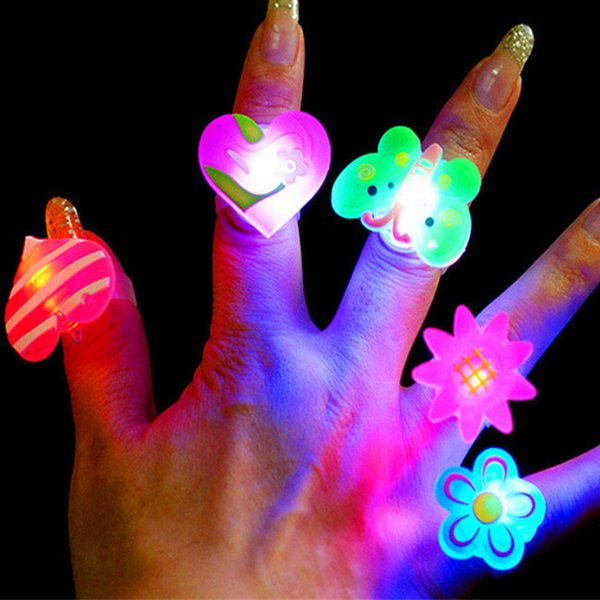 10pcs Cartoon LED Rings for Kid Flashing Light Up Glowing Finger Rings Electronic Christmas Halloween Fun Toys For Children Gift