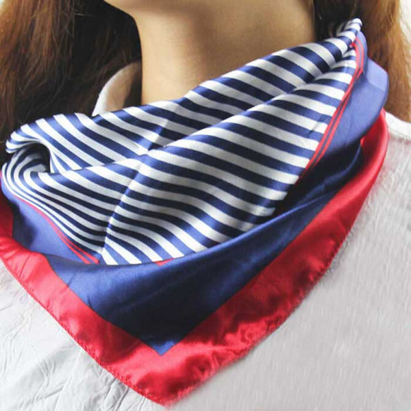 Amazing Hot Satin Silk Square Schal Frauen Mode Vier Jahreszeiten Beruf Streifen Seide Satin Schals