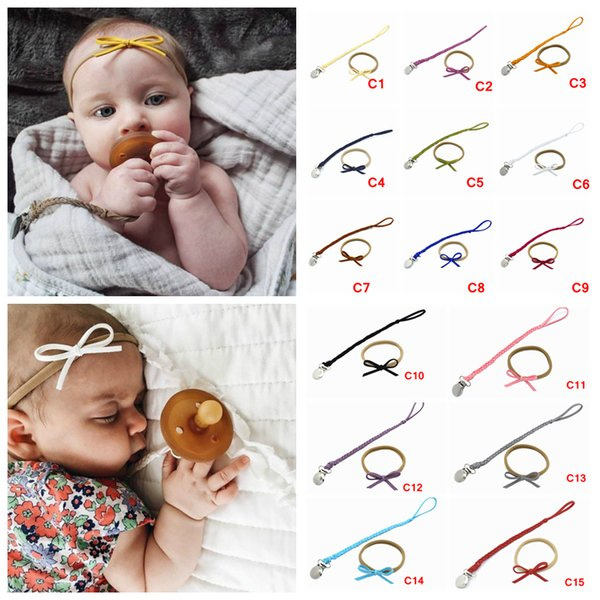 2pcs/set Baby Pacifier Clip Chain Hair band set Toddler Infant Braided Leather Pacifier Holder Bow Headbands Baby Feeding Teethers AAA1214