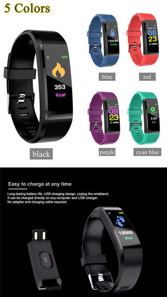 ID115 Artı Akıllı Bilezik Spor Izci Akıllı Izle Kalp Hızı Kordonlu Saat Akıllı Bileklik ile Apple Android Cep Telefonları Için Kutusu